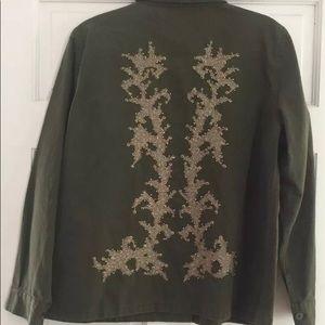 Zara Coat Jacket Embroidered Back Military Khaki